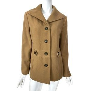 JM Collection Camel Long Sleeve Jacket PeaCoat